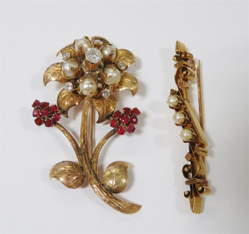 Retro pearl and gemstone brooches (2pcs)