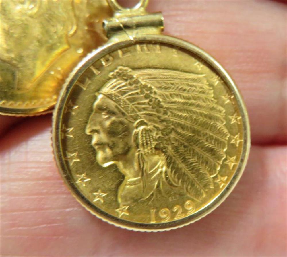 Bezel-set gold coin pendants on chain