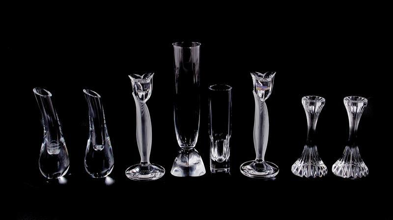 Lalique, Baccarat and Steuben crystal candlesticks and vases (8pcs)