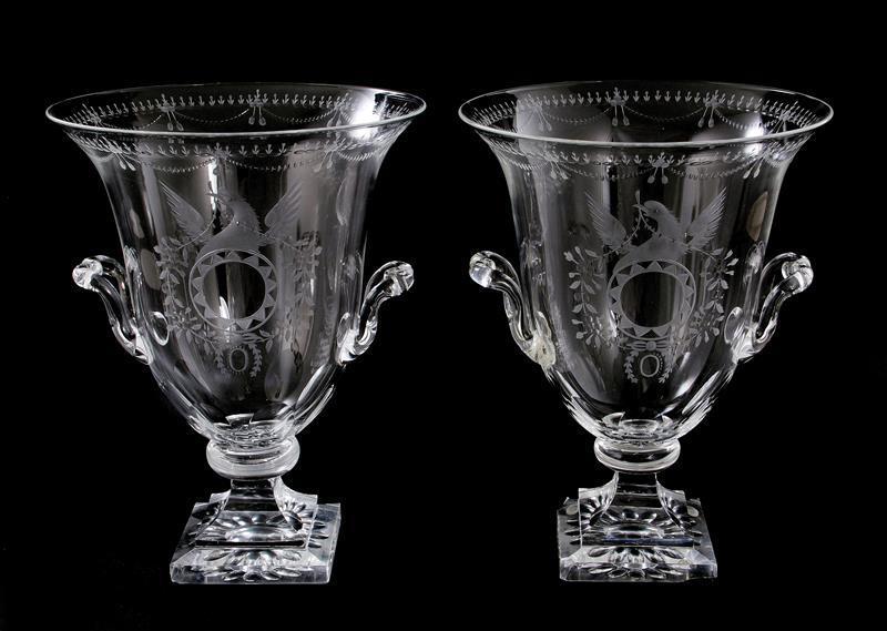 Pair Steuben etched glass urns (2pcs)