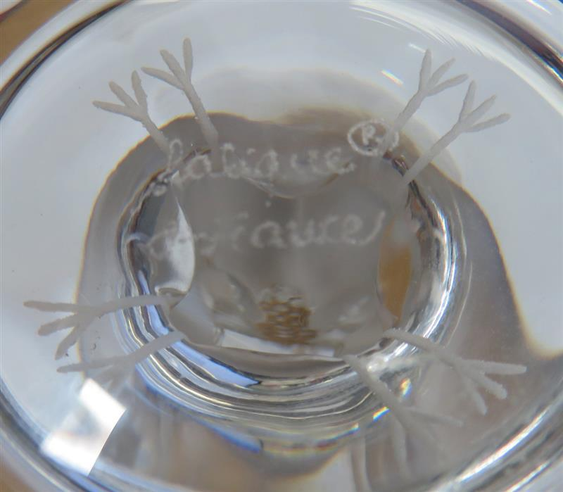 Lalique Virginia Peacock frosted crystal compote