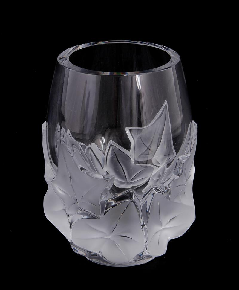 Lalique Hedera frosted crystal vase