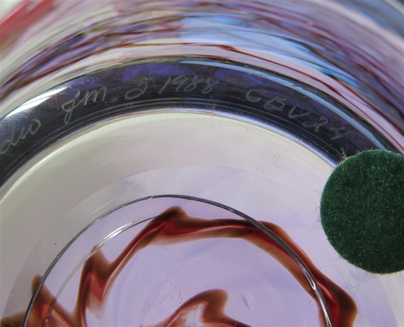 Zellique Studio purple-swirl blown glass bowl