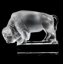 Lalique crystal bison buffalo paperweight