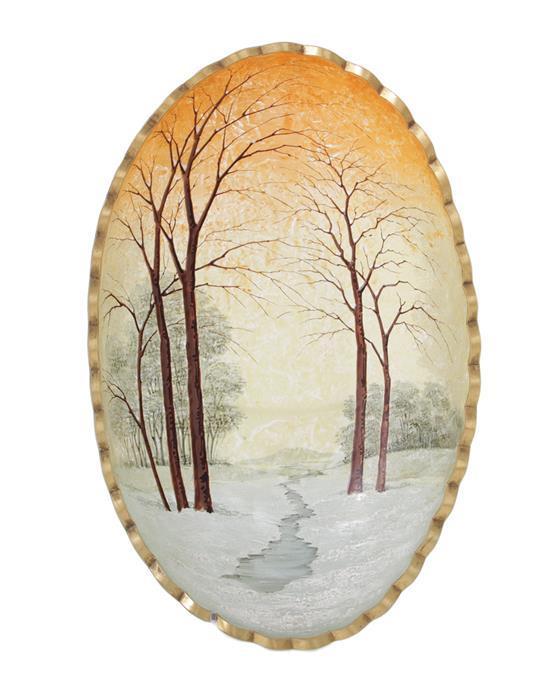 French enameled glass bowl, possibly Daum