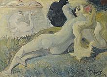 José MANGE (1866-1935) Léda et le cygne, 1926