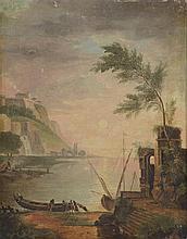 Ecole Française XIXème. «bord de mer animé». Toile. 40.5 x 32.5 cm. (petits manques)