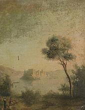 Ecole Française XIXème. «paysage animé avec château au loin». Toile. 40.5 x 32.5 cm. (qq acc et manques)