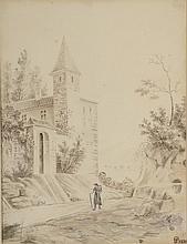 Ecole Française XIXème. «paysages animés». Deux plumes et lavis d'encre formant pendant, un monogrammé P et daté 1829 en bas à droite. 18.5 x 14 cm