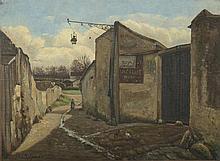 LEFEVRE Ed. «Montmartre, rue du Mont Cenis 1874». Toile monogrammée sur carton signée en bas à gauche. 27.5 x 33 cm. Située et datée au dos