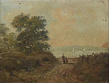 PIGALE. «promeneurs près du lac». panneau. 16 x 22 cm.