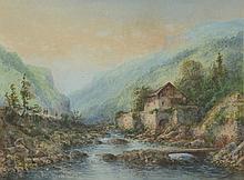 Thomas Louis. «cours d'eau en montagne». Aquarelle signée en bas à gauche. 24 x 31 cm à vue
