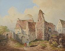 THOMAS Louis. «couple dans les ruines». Aquarelle signée en bas à gauche. 13.5 x 17 cm