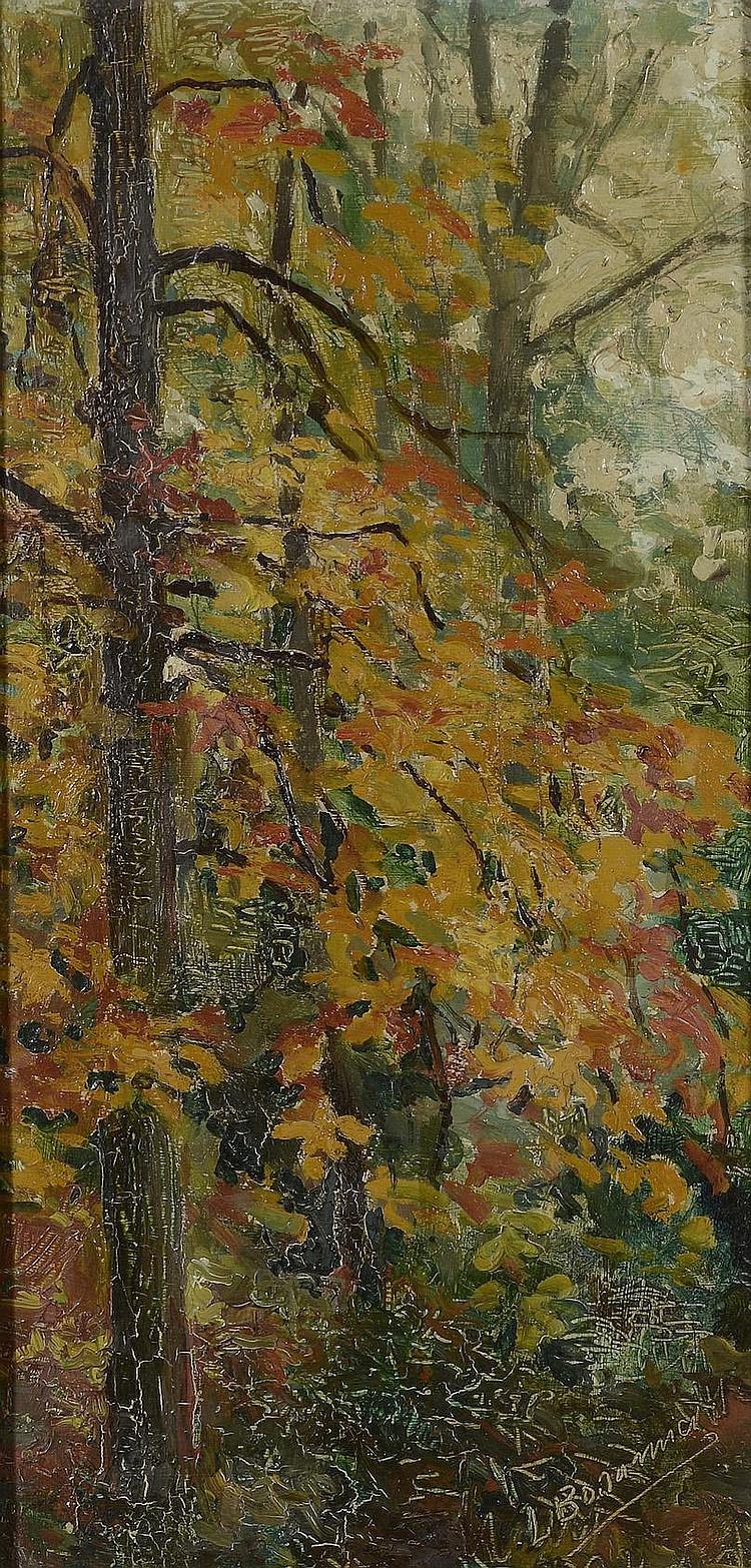 Louis BONAMICI (1878-1966) . «Sous-bois». Paire d'huiles sur panneau . Chacun signé. 37 x 18 cm chaque . Beaux cadres en bois stuqué doré .