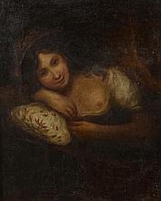 Ecole XIX, dans le goût de Georges Romney . «Femme en buste». Huile sur toile. Non signée. 77 x 63 cm. Contractions de peinture.