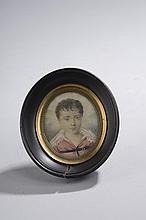 Moreau. «Portrait d'un jeune garçon en buste». Aquarelle signée et datée 18... en bas au milieu. 7 x 6 cm