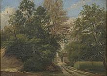 CAZIN Jean Charles 1841 - 1901. «l'allée d'arbres». Toile signée en bas à droite. 25 x 34 cm