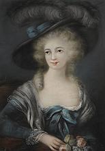 Ecole Française XIXème. «jeune élégante au bouquet de roses». Pastel. 89 x 58 cm à vue