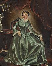 Ecole Française fin XIXème. «mère et son enfant». «jeune femme assise». Deux huiles sur panneau formant pendant. 25 x 21 cm