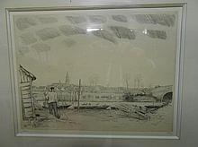 Jean-Emile LABOUREUR 1877-1943. «Paysage». Eau-forte. Signée et justifiée 5/ 32. 24,5 x 32 cm