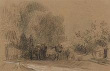 Albert LEBOURG (1849-1928). «L'attelage». Fusain et rehauts de craie. Signé du monogramme. 20 x 29 cm. Insolé.. Provenance : Vente Me Rogeon, Drouot, (ancienne étiquette au dos).. .