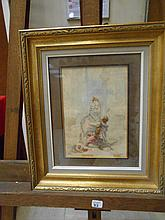 Maurice LELOIR (1853-1940). «L'amour fou». Aquarelle. Signée en bas à droite. 21 x 14 cm. Légèrement insolée..
