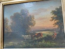 A.GARNIER actif vers 1880. «Le vacher». Huile sur bois. Signé vers le bas. 13 x 18 cm. Beau cadre.