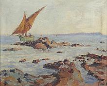 FELIX. «voilier en bord de côte». Toile signée en bas à droite. 38 x 47 cm