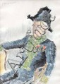 Ecole Française XXème. «portrait d'académicien». Plume et aquarelle. Signée illisible en bas à gauche. 41.5 x 30 cm à vue. /106