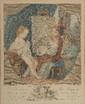 Carle Van Loo (d'après). «la musique». «la peinture». Paire de gravures couleur gravées par Fossard. 36 x 29 cm à vue.