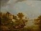 Ecole FRANÇAISE de la fin du XIXème siècle. «Paysage à la barque». Panneau. 25 x 32 cm. .