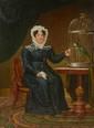 Ecole Française XIXème. «dame de qualité assise donnant à manger à son perroquet». Toile. (restaurations). 185 x 137 cm