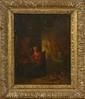 Ecole HOLLANDAISE du XVIIIème siècle, suiveur de Cornelis SAFTLEVEN. «Scène de sorcellerie dans un intérieur». Toile. 40,5 x 32 cm. .