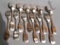 Lot de 6 couverts en argent uniplat formant ensemble, les spatules (sauf une) chiffrées JS.. Par Zahrt, Letz et Jean-Georges Pick.. Strasbourg vers 1770.. Poids : 783 g.
