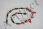Collier recomposé selon la tradition de perles de corail, turquoise, perles gzi et métal argenté. Mongolie.