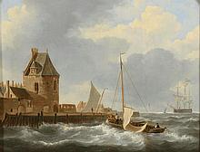 Jan Christianus SCHOTEL. (1787 - 1838). «Vue d'un port en Hollande». Toile. Signé en bas à gauche J.C. Schotel. 37,5 x 49,5 cm. Expert: R. MILLET