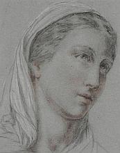 Ecole FRANCAISE vers 1860. . «Portrait de femme portant un voile». Crayon noir, sanguine, rehauts de blanc et de pastel . . 30 x 23,5 cm. . Anciennement attribué à Charles Landelle. . Expert: R. MILLET.