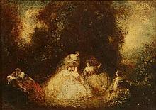 Maury François (1851 - 1933). «conversation dans le parc». Panneau d'acajou signé en bas à gauche. 33 x 46 cm