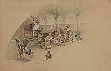LABOUREUR. «les animaux malades de la peste». Projet d'éventail, aquarelle signée et datée 1874 en bas à gauche. 30 x 47 cm