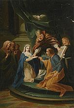 Ecole Française fin XVIIIème. «l'échange des alliances». Toile. (petits manques). 66 x 46 cm