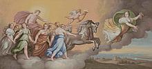 *Ecole Française vers 1800. «l'aurore». Gouache. 22 x 45 cm. Cadre à palmettes