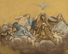 Ecole Française XVIIIème, d'après Annibale CARRACHE. «le couronnement de la vierge». Toile. 48.5 x 61 cm. (coupé dans la partie droite). Expert: R. MILLET