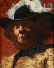*DEVAMBEZ André (1886 - 1943). «mousquetaire». Huile sur carton signé en haut à gauche. 20 x 17 cm