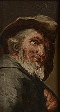Ecole Française XIXème. . «portrait en buste d'un homme barbu». Huile sur panneau.. 24.5 x 14.5 cm