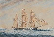 SEGALLA . . «Trois mâts-barque sous voiles».. Aquarelle, signée et datée en bas à droite. . 40 x 70 cm à vue. /23