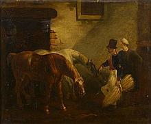 FIEVEE AJLT (1822 -?). . «Chevaux à l'écurie». Toile signée en bas à droite. . 38 x 47 cm.. (restaurations). Expert: R. MILLET