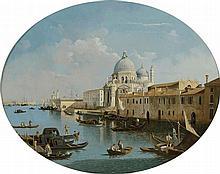 *Ecole Vénitienne XVIIIème. «Venise». Toile ovale. 65 x 78 cm