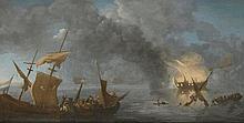 Ecole HOLLANDAISE du XVIIIème siècle, suiveur de Ludolf BAKHUIZEN. . «Le naufrage sur une mer calme».. Toile. 64 x 121,5 cm. . Expert: R. MILLET