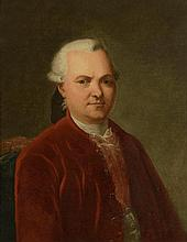 Ecole Française XVIIIème. «portrait d'homme à la veste rouge». Toile (réentoilée). 64 x 54 cm. Cadre en bois sculpté doré d'époque XVIIIème. /28