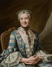 *NONOTTE Donat 1708 - 1785. «Portrait de dame de qualité assise tenant un éventail». Signé en bas à droite et daté 1750. Selon étiquette au dos il s'agirait de la vicomtesse Brita Christina Tornflyckt. 81 x 65 cm